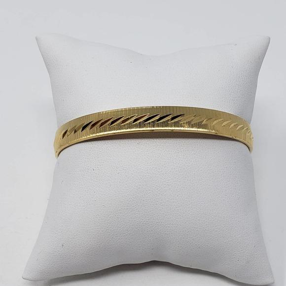 Monet Brushed Gold Tone Etched Bangle Bracelet